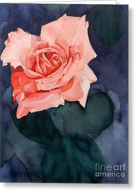 Watercolor Of A Magic Bright Single Red Rose Greeting Card