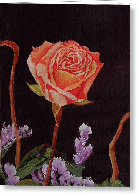 Greeting Card featuring the painting Single Rose by Quwatha Valentine