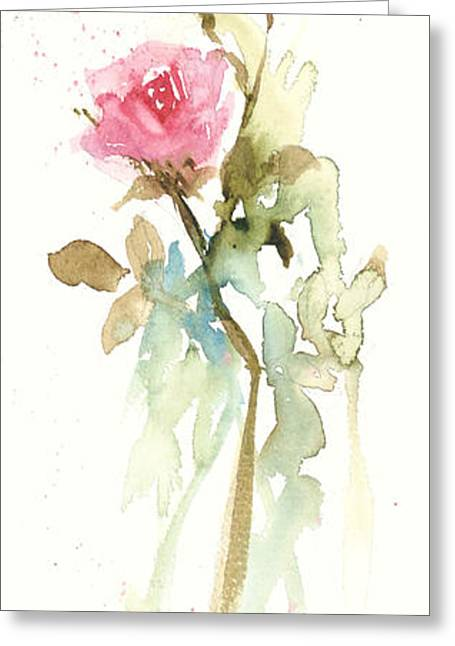 Greeting Card featuring the painting Single Stem by Sandra Strohschein