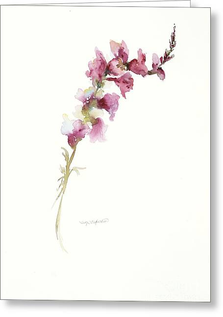 Greeting Card featuring the painting Single Stem Snapdragon by Sandra Strohschein