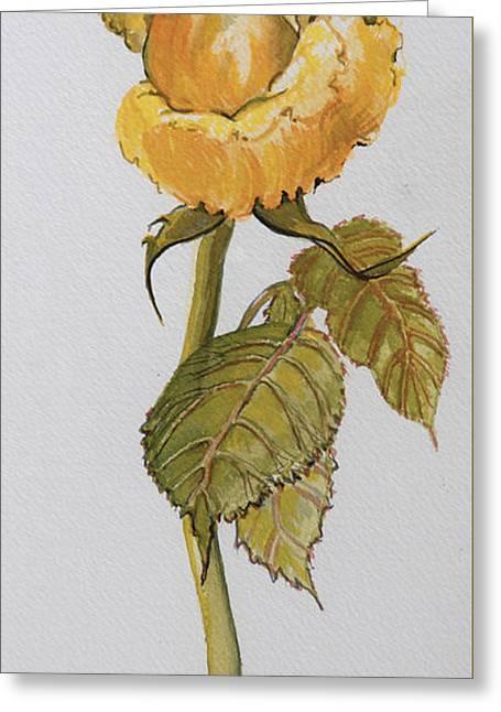Single Yellow Rose Greeting Card by Joan Thewsey