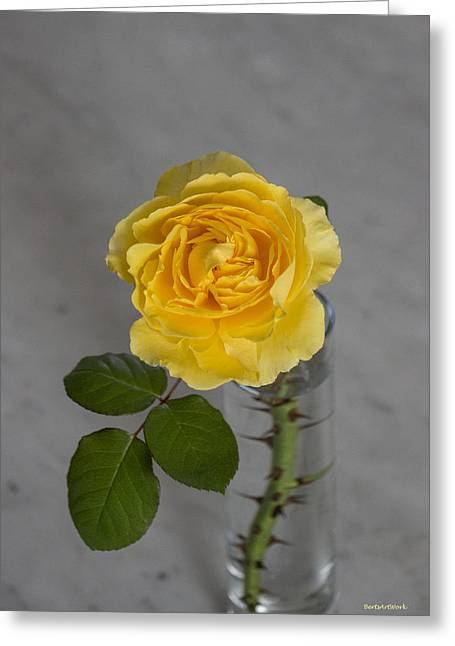 Single Yellow Rose With Thorns Greeting Card