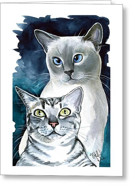 Sini And Nimbus - Cat Portraits Greeting Card