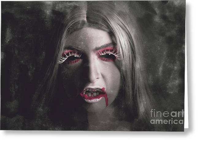 Sinister Portrait Of Scary Vampire Woman Greeting Card by Jorgo Photography - Wall Art Gallery