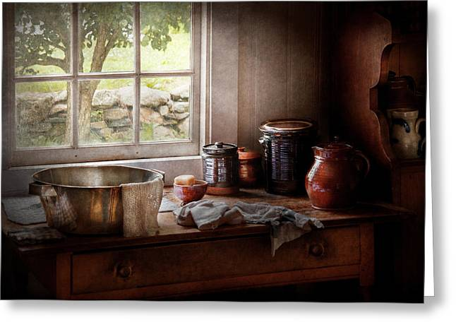 Gifts For A Cook Greeting Cards - Sink - The morning chores Greeting Card by Mike Savad