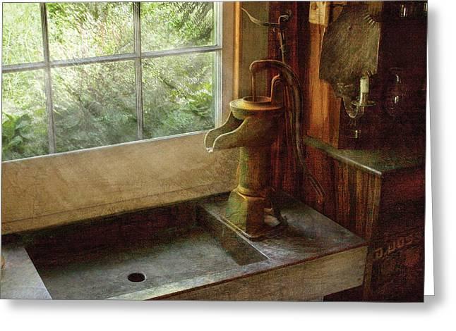 Sink - Water Pump Greeting Card by Mike Savad