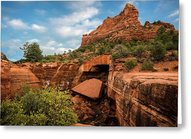 Sink Rock At Sedona Greeting Card by Ed Kendall