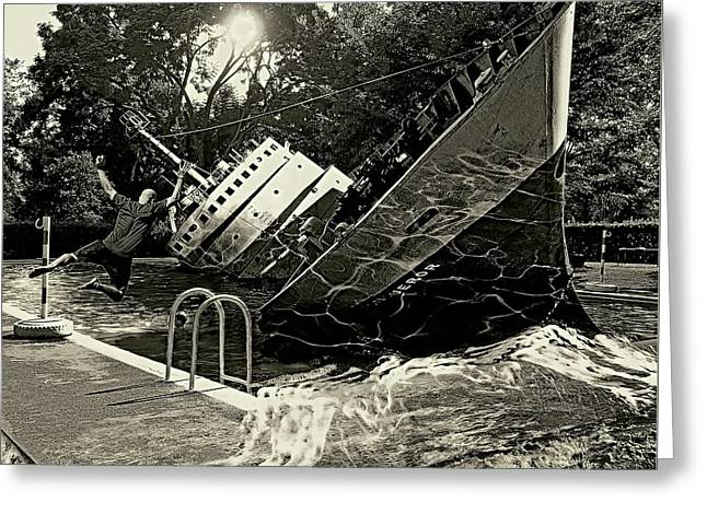 Sinking Into The Pool Black And White Greeting Card by Marian Voicu