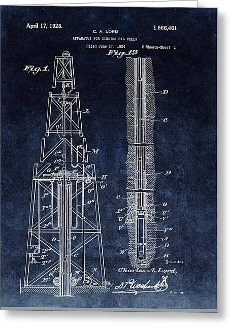 Sinking Oil Well Patent Greeting Card by Dan Sproul