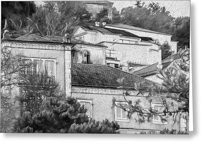 Greeting Card featuring the photograph Sintra In Black And White by Julie Palencia
