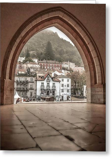 Greeting Card featuring the photograph Sintra Through The Arch by Julie Palencia