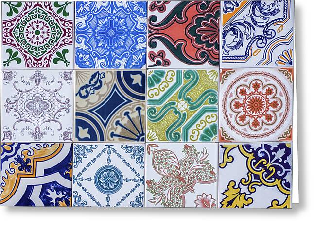 Sintra Tiles Greeting Card by Carlos Caetano
