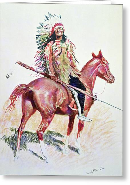 Sioux Chief Greeting Card by Frederic Remington