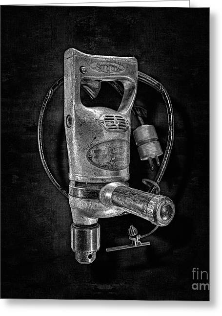 Sioux Drill Motor 1/2 Inch Bw Greeting Card by YoPedro
