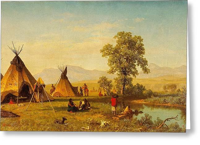 Sioux Village Near Fort Laramie - Native Indian Wall Art Prints Greeting Card