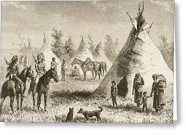 Sioux Village Showing Teepees. From Greeting Card by Vintage Design Pics