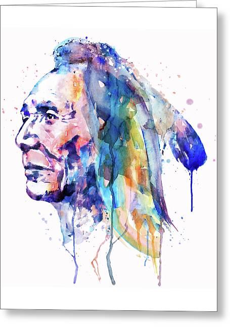 Sioux Warrior Watercolor Greeting Card by Marian Voicu