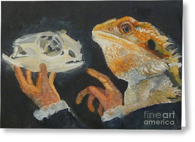 Sir Bearded-dragon As Hamlet Greeting Card by Jessmyne Stephenson