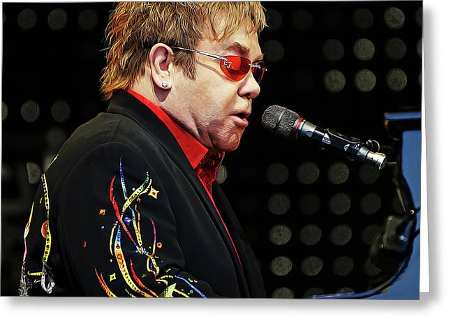 Sir Elton John At The Piano Greeting Card by Elaine Plesser