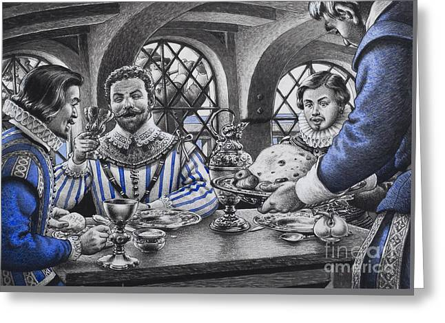 Sir Francis Drake At The Table Greeting Card by Pat Nicolle