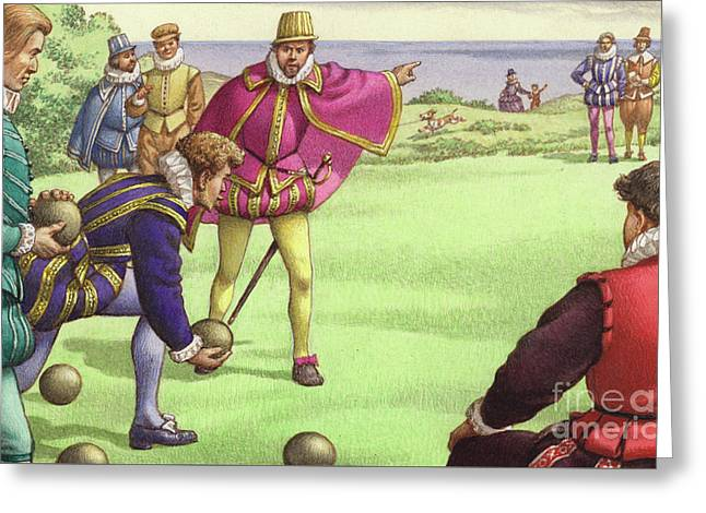 Sir Francis Drake Playing Bowls Before The Arrival Of The Spanish Armada Greeting Card by Pat Nicolle