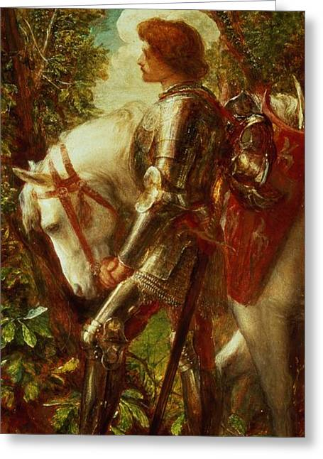 The Horse Greeting Cards - Sir Galahad Greeting Card by George Frederic Watts