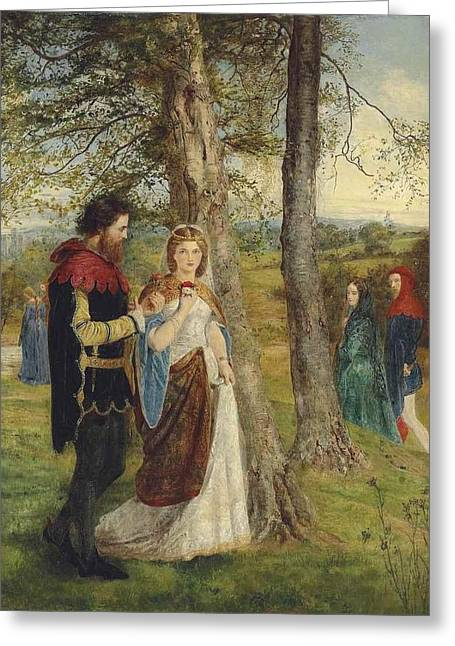 Sir Lancelot And Queen Guinevere Greeting Card by James Archer