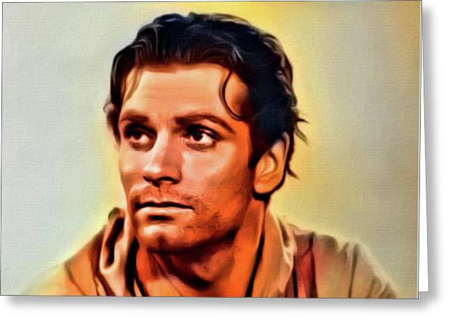 Sir Laurence Olivier, Digital Art By Mb Greeting Card by Mary Bassett