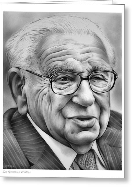 Sir Nicholas Winton Greeting Card by Greg Joens
