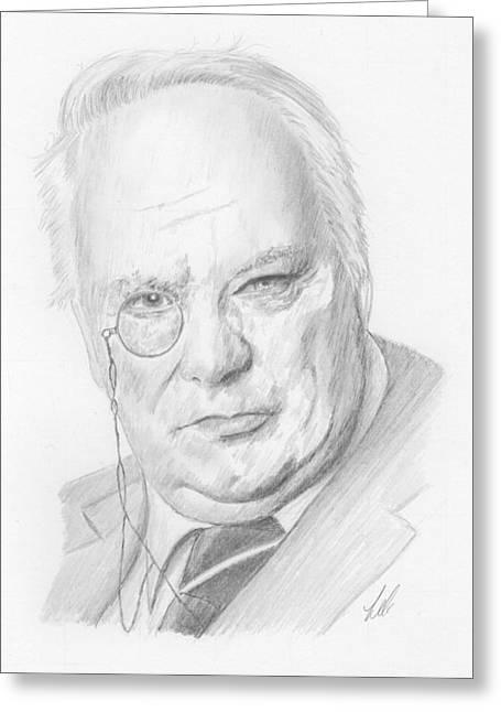 Sir Patrick Moore Greeting Card by Keith Miller