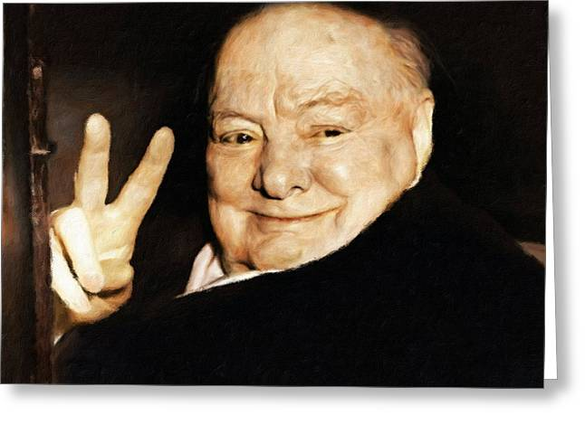 Sir Winston Churchill Victory Greeting Card by Vincent Monozlay