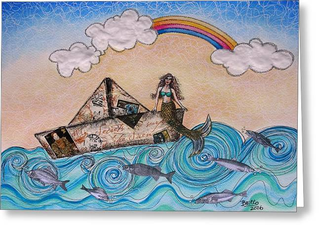 Siren On A Paper Boat Greeting Card