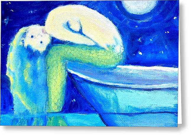 Greeting Card featuring the painting Siren Sea by Dawn Harrell