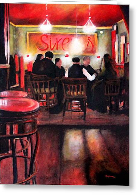 Sirens Pub Greeting Card by Marti Green