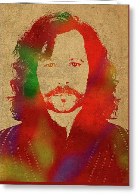 Sirius Black From Harry Potter Watercolor Portrait Greeting Card by Design Turnpike