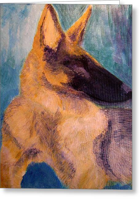 Greeting Card featuring the painting Sirius Canis Major by Barbara Giordano