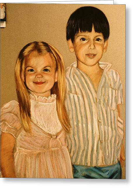 Demo Pastel Sister And Brother Greeting Card by Charles Munn