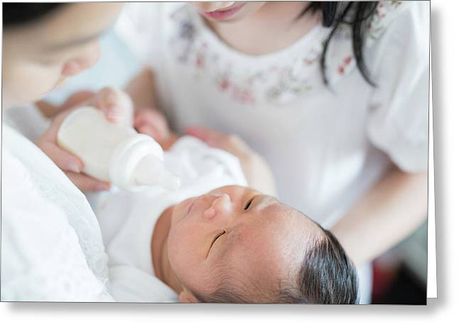 Sister And Mother Takecare Asian New Born Baby  Greeting Card by Anek Suwannaphoom