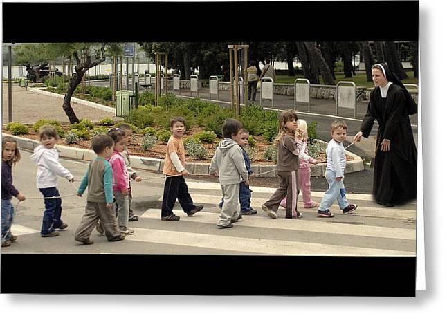 Sister Andrja Walking Her Students Greeting Card