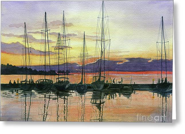 Sister Bay Harbor Sunset Greeting Card