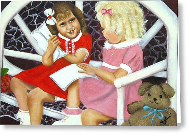 Greeting Card featuring the painting Sister Chat by Joni McPherson