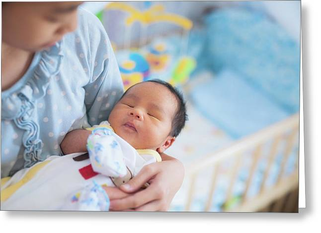 Sister Takecare Asian New Born Baby To Sleep Greeting Card by Anek Suwannaphoom