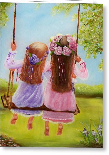 Greeting Card featuring the painting Sisters And Friends Forever by Joni McPherson