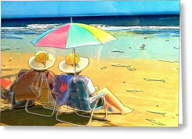 Sisters At The Beach Greeting Card