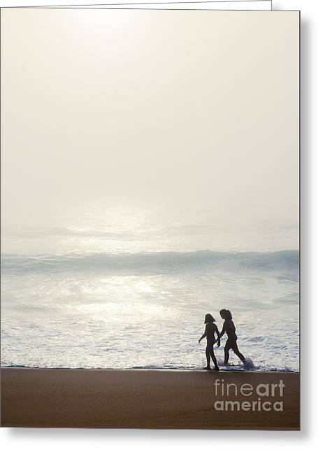 Sisters By The Seashore Greeting Card by Carlos Caetano
