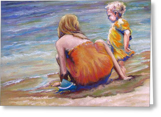 Sisters Enjoy The Shore Greeting Card by Carole Haslock