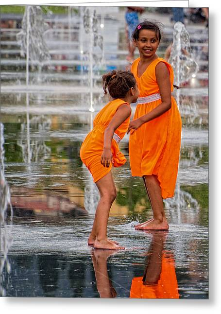 Sisters In The Waterpark Greeting Card