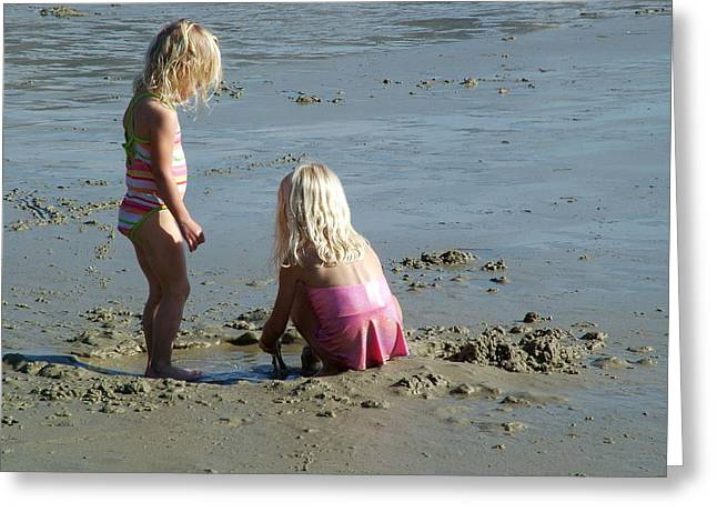 Sand Castles Greeting Cards - Sisters Greeting Card by John Loyd Rushing