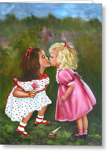 Greeting Card featuring the painting Sisters by Joni McPherson
