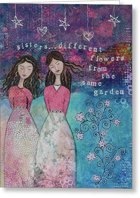 Sisters Greeting Card by Margaret Goodwin